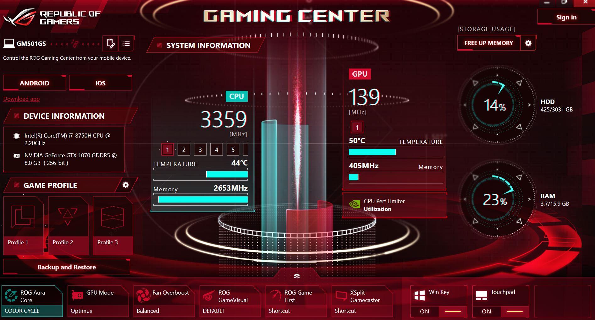 Software lain seperti ASUS ROG Gaming Center sebagai pusat kendali fitur dan performa laptop ASUS ROG