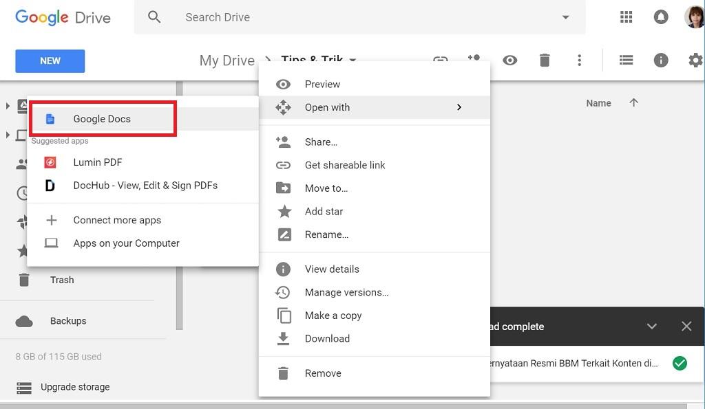 Cara Edit File PDF dengan Google Docs