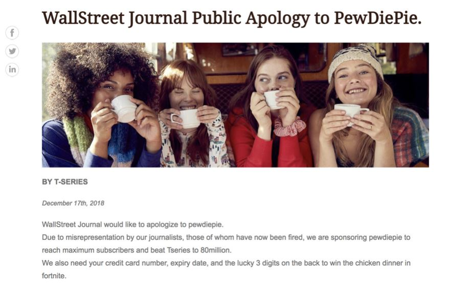 Penggemar PewDiePie Bobol Wall Street Journal