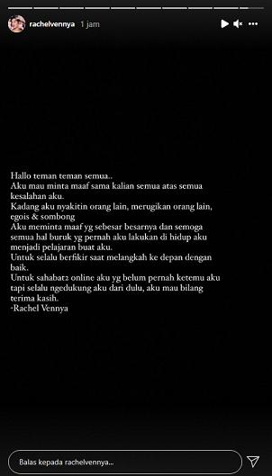 Unggahan Instagram Story Rachel Vennya yang meminta maaf usai ketahuan kabur dari karantina. Instagram @Rachelvennya