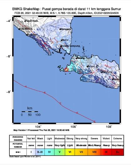 Gempa Magnitudo 5,1 Guncang Sumur Pandeglang