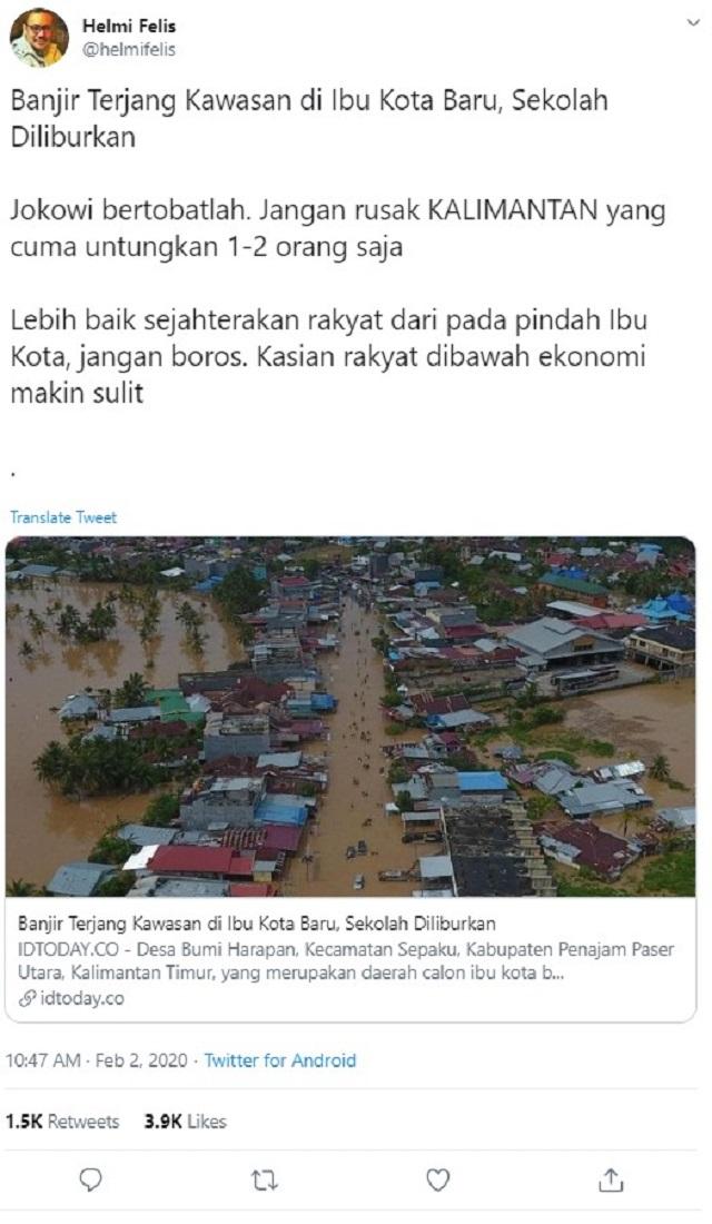 [Cek Fakta] Viral Foto Penampakan Banjir di Ibu Kota Baru Ternyata Hoaks? Ini Faktanya