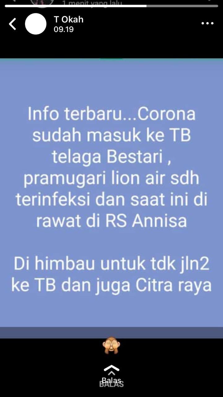 [Cek Fakta] Seorang Pramugari Lion Air Positif Korona dan Dirawat di RS An Nisa Tangerang? Ini Faktanya
