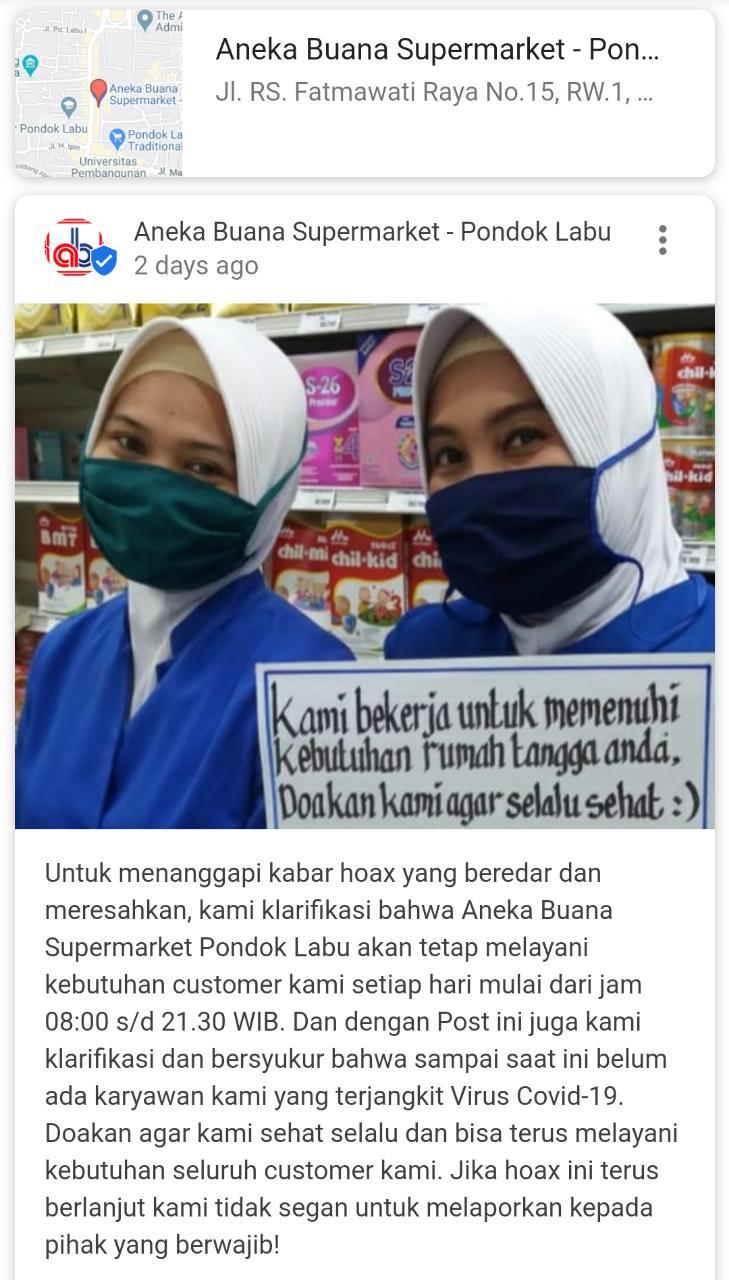 [Cek Fakta] 9 Karyawan Aneka Buana Pondok Labu Terinfeksi Korona? Hoaks