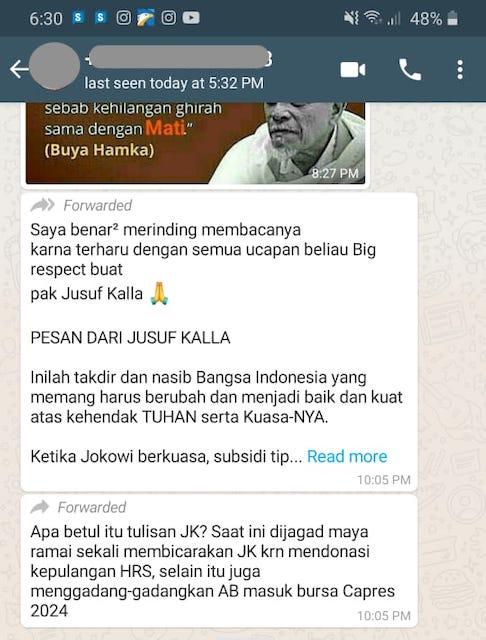 [Cek Fakta] Beredar Tulisan JK Sebut Jokowi Sedang Diganggu Elite Politik dari Kekuasaan Orde Baru? Cek Faktanya