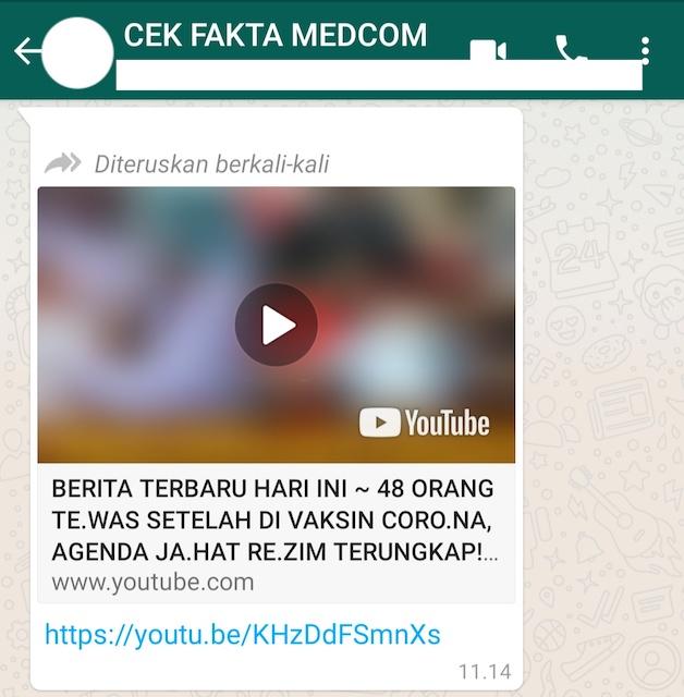 [Cek Fakta] Beredar Video 48 Orang Meninggal Usai Divaksin Diklaim Bagian dari Agenda Rezim? Ini Cek Faktanya