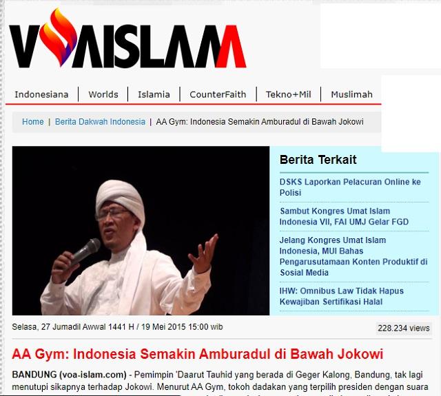 [Cek Fakta] Aa Gym Sebut Indonesia Amburadul di Bawah Jokowi? Ini Faktanya