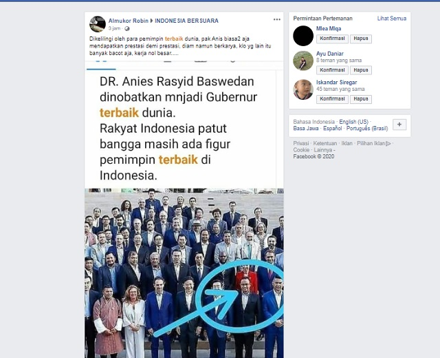 [Cek Fakta] Anies Baswedan Dinobatkan sebagai Gubernur Terbaik di Dunia? Ini Faktanya