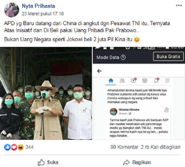 [Cek Fakta] Prabowo Pakai Uang Pribadi Beli APD dari Tiongkok, Hoaks