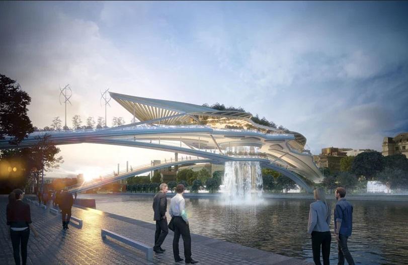 Babylon Bridge, Jembatan Gantung dengan Air Mancur
