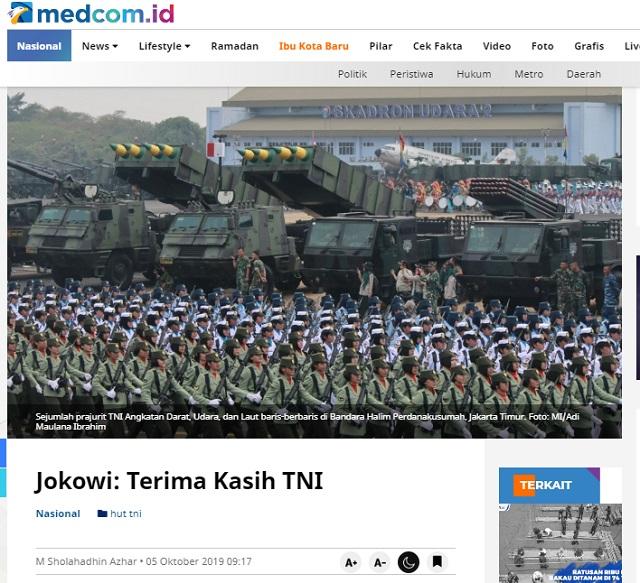 [Cek Fakta] Presiden Jokowi tidak Bangga kepada TNI? Ini Faktanya