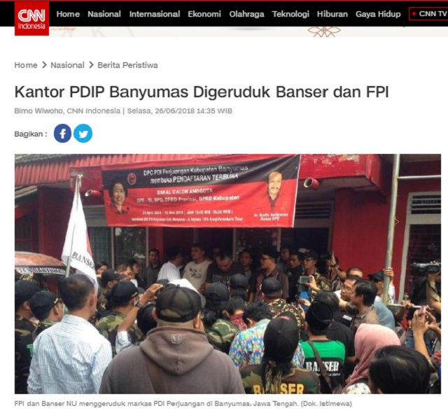 [Cek Fakta] Foto FPI dan Banser Geruduk Kantor PDIP? Ini Faktanya