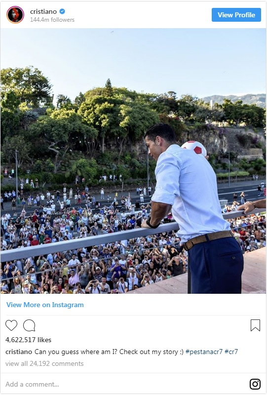 Ronaldo Kalahkan Ketenaran Selena Gomez di Instagram
