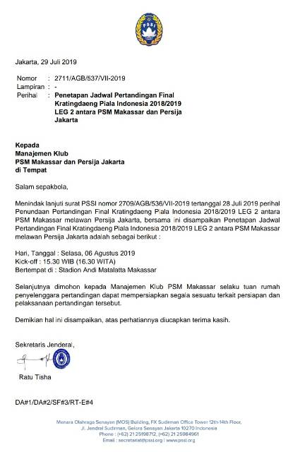 PSSI Putuskan Laga Tunda PSM vs Persija Digelar 6 Agustus