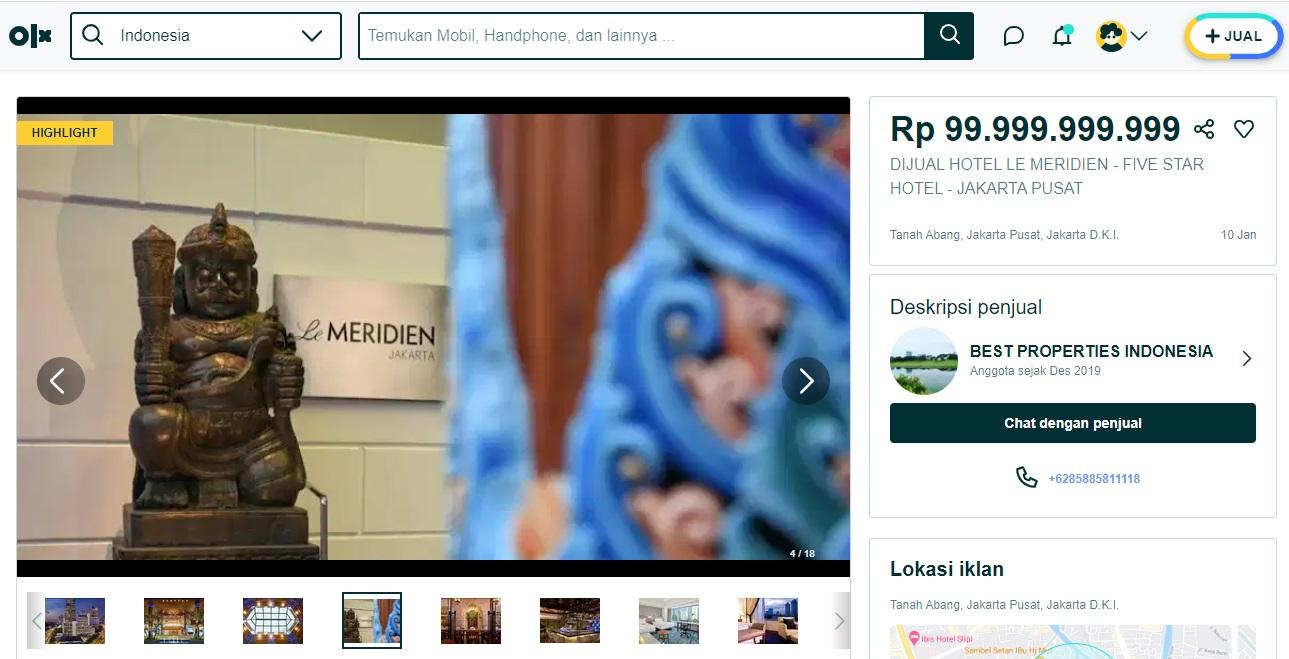 Heboh Banyak Hotel Berbintang Dijual di Jakarta