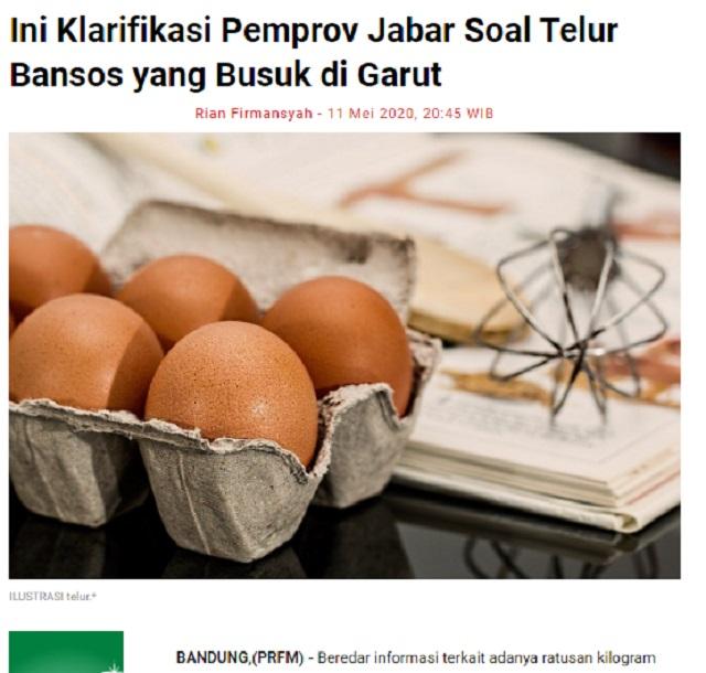 [Cek Fakta] Tak Dibagi-bagikan, 4 Ton Telur Bansos Pemprov Jabar Membusuk? Ini Faktanya