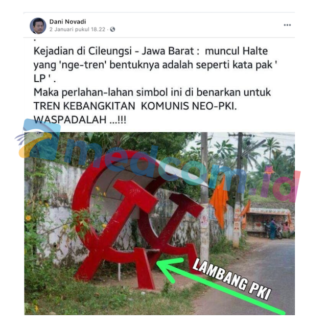 [Cek Fakta] Beredar Foto Halte Palu Arit di Cileungsi Jawa Barat? Ini Faktanya