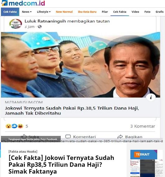 [Cek Fakta] Wapres Sebut Pemerintah Tidak Sengaja Pakai Dana Haji Jadi Tidak Berdosa? Ini Faktanya