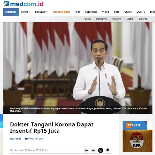 [Cek Fakta] Tenaga Medis Gugur karena Korona, Jokowi Cuek? Ini Faktanya