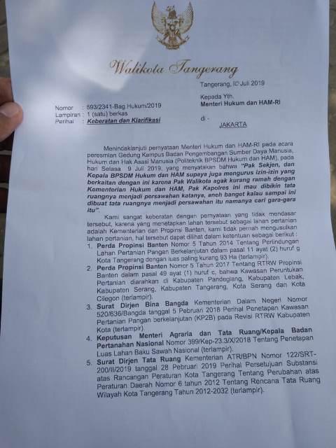 Walkot Tangerang Jawab Sindiran Menkumham dengan Sanksi