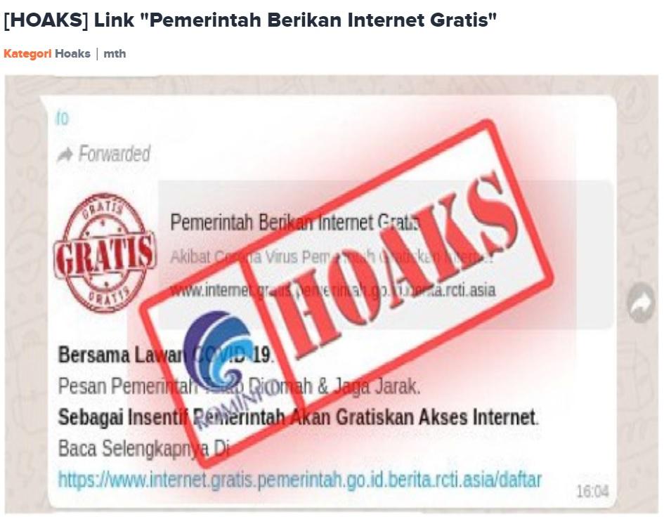 [Cek Fakta] Pemerintah Gelar Program Internet Gratis? Ini Faktanya