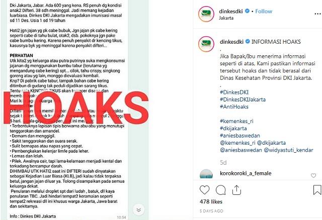 [Cek Fakta] Penularan Difteri di Jakarta dan Jabar Melalui Bubuk Cabai?