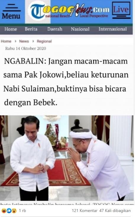 [Cek Fakta] Ali Mochtar Ngabalin Sebut Jokowi Keturunan Nabi Sulaiman? Ini Faktanya