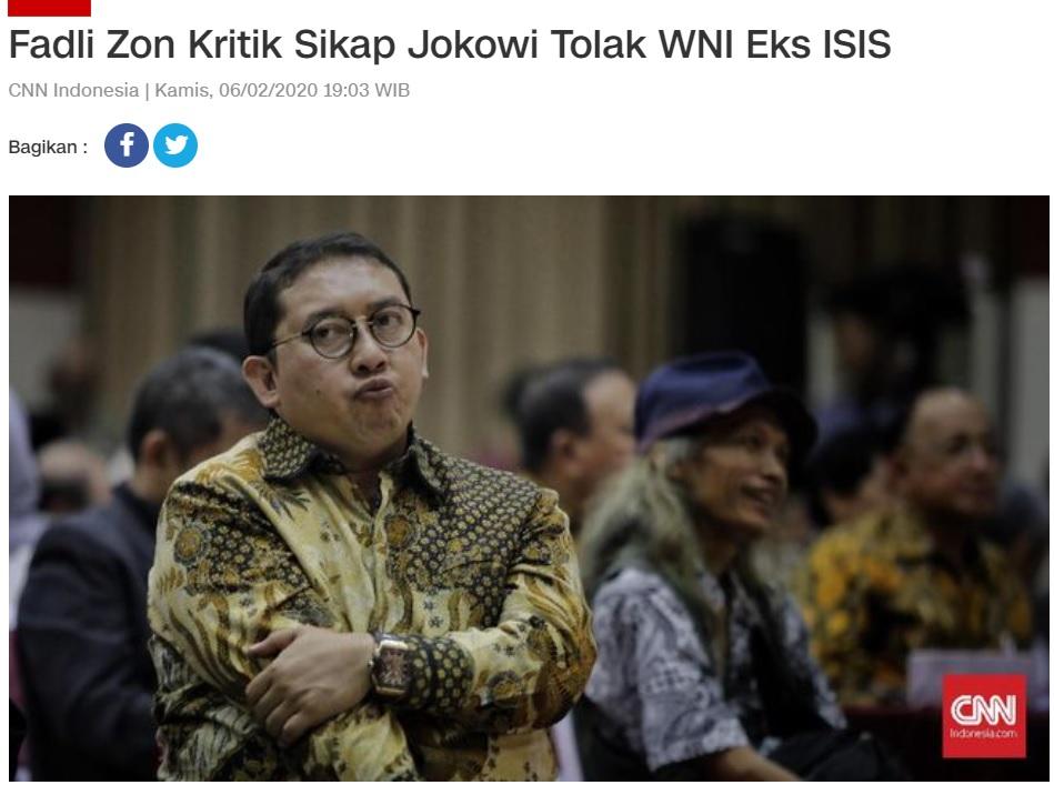 [Cek Fakta] Fadli Zon akan Jemput WNI Eks ISIS di Suriah? Ini Faktanya