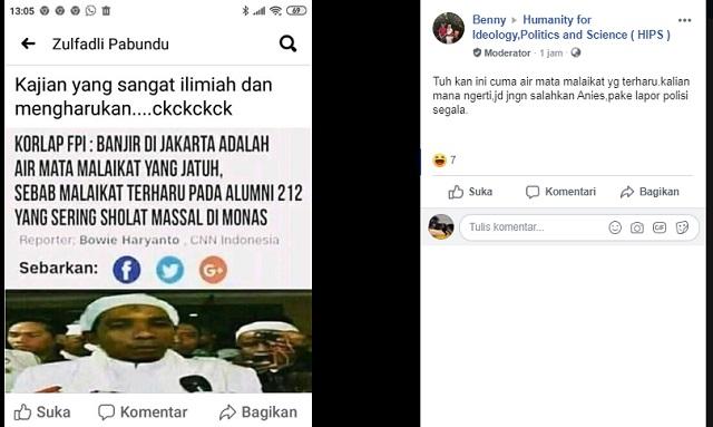 [Cek Fakta] Banjir di Jakarta adalah Air Mata Malaikat yang Terharu pada Alumni 212, Benarkah?