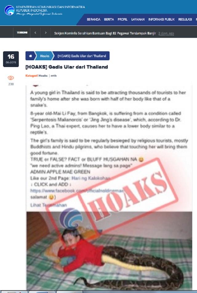 [Cek Fakta] Penampakan Gadis Bertubuh Ular Gemparkan Thailand? Ini Faktanya