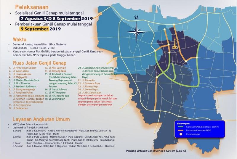 Rute Perluasan Ganjil Genap di Jakarta