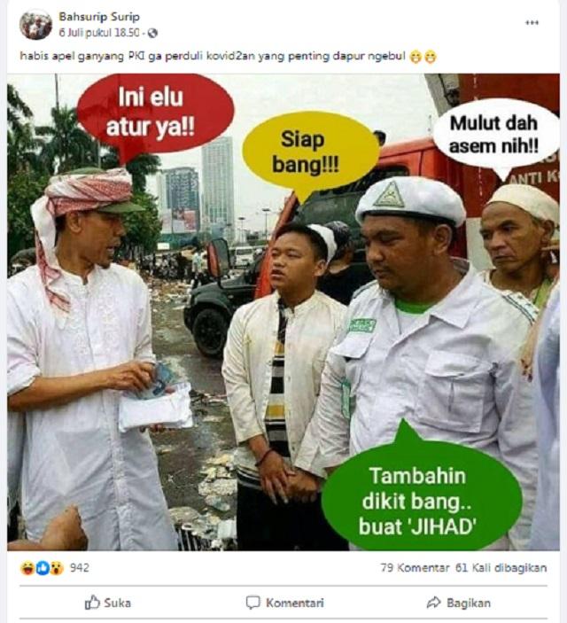 [Cek Fakta] Beredar Foto FPI Bagi-bagi Uang ke Demonstran Usai Apel Ganyang PKI? Ini Faktanya