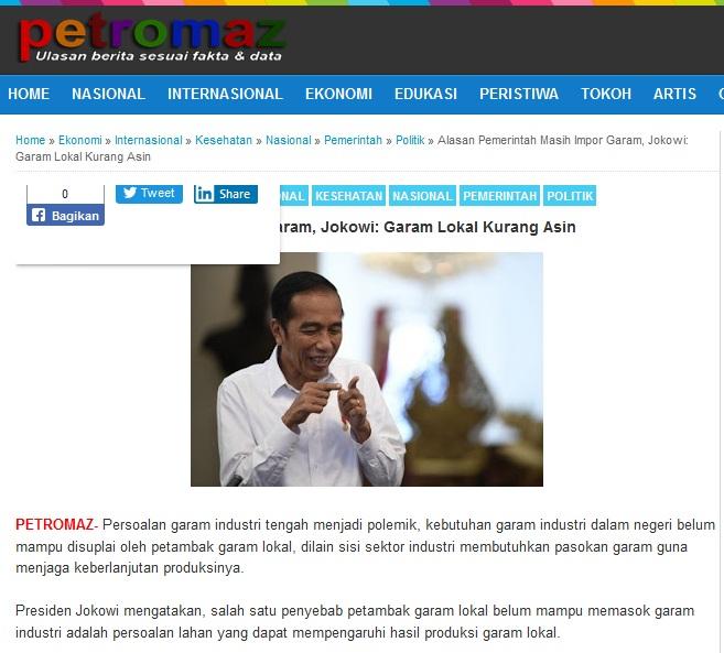 [Cek Fakta] Jokowi Sebut Garam Lokal Kurang Asin? Ini Faktanya
