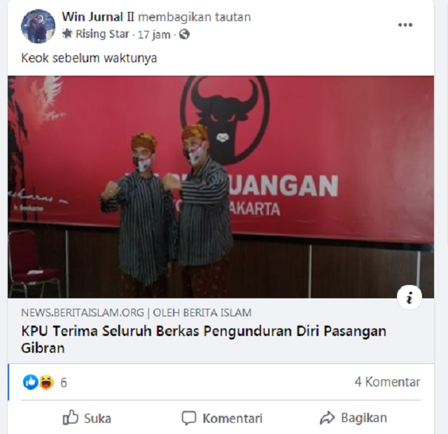[Cek Fakta] Putra Jokowi Gibran Keok sebelum Waktunya, Benarkah?