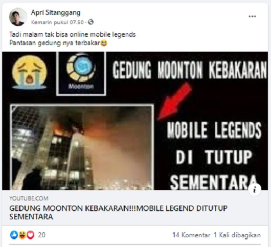 [Cek Fakta] Beredar Foto Kebakaran Gedung Moonton Pengembang Gim <i>Mobile</i> <i>Legend</i> ? Ini Faktanya