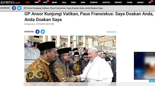 [Cek Fakta] Pejabat NU Rebutan Mencium Tangan Paus Fransiskus?