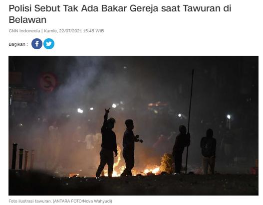 [Cek Fakta] Video Pembakaran Gereja di Belawan, Medan? Ini Faktanya