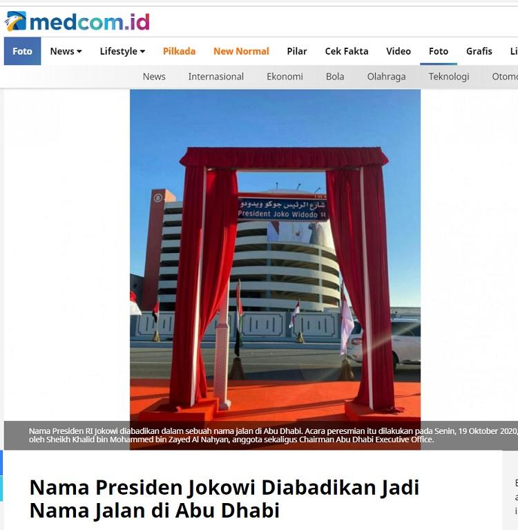 [Cek Fakta] Pemerintah Uni Emirat Arab Ubah Gelar Jokowi di Nama Jalan ? Ini Faktanya
