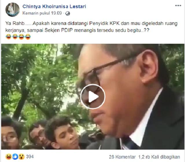 [Cek Fakta] Beredar Video Sekjen PDIP Hasto Kristiyanto Menangis Saat Didatangi Penyidik KPK? Ini Faktanya