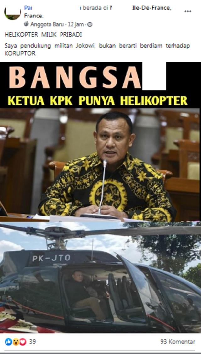 [Cek Fakta] Beredar Foto Helikopter Milik Pribadi Ketua KPK? Ini Faktanya