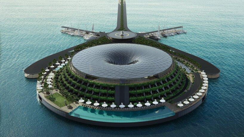 Hotel Terapung Berbentuk Pusaran Air yang Dilengkapi Lapangan Golf