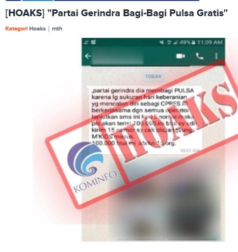 [Cek Fakta] Presiden Jokowi Bagi-bagi Pulsa ke Timses Pilpres? Ini Faktanya