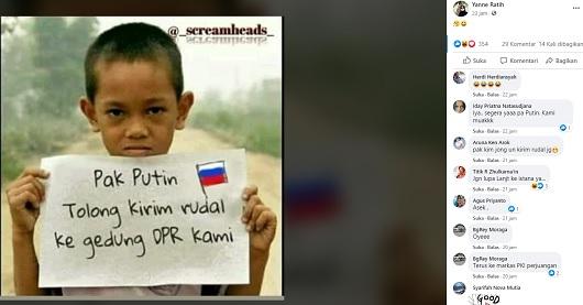 [Cek Fakta] Foto Bocah Lelaki Minta Presiden Rusia Vladimir Putin Kirim Rudal ke Gedung DPR? Ini Faktanya