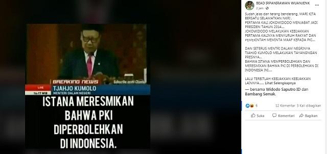 [Cek Fakta] Lagi, Beredar Hoaks Istana Resmikan PKI Diperbolehkan di Indonesia