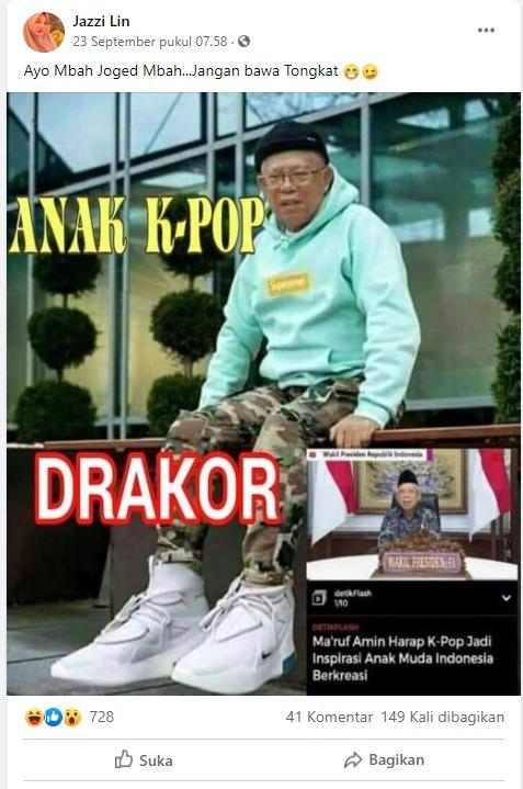[Cek Fakta] Foto Ma'ruf Amin Bergaya Ala K-Pop? Ini Faktanya