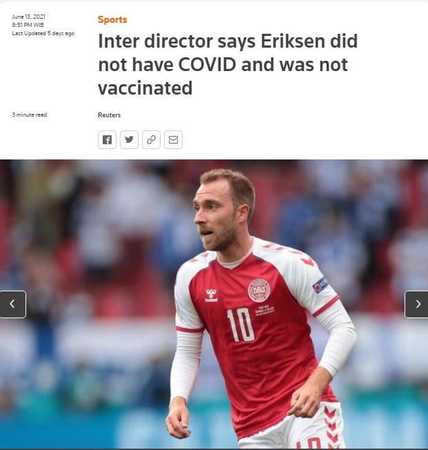 [Cek Fakta] Christian Eriksen Terkena Serangan Jantung Setelah Divaksin? Ini Faktanya