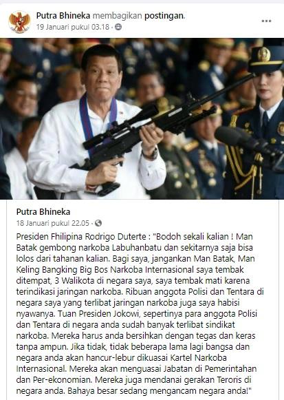 [Cek Fakta] Presiden Filipina Rodrigo Duterte Ingatkan Jokowi, Indonesia akan Dikuasai Kartel Narkoba Internasional? Ini Faktanya