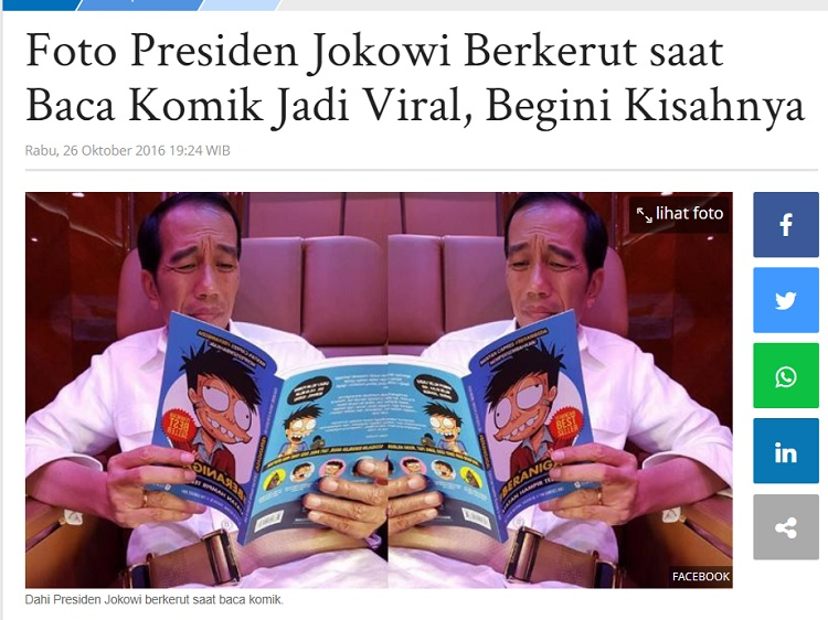 [Cek Fakta] Foto Jokowi Baca Komik Petualangan Doraemon? Ini Faktanya