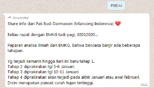 [Cek Fakta] Jakarta akan Dilanda Banjir Lagi pada Awal Februari 2020? Ini Faktanya