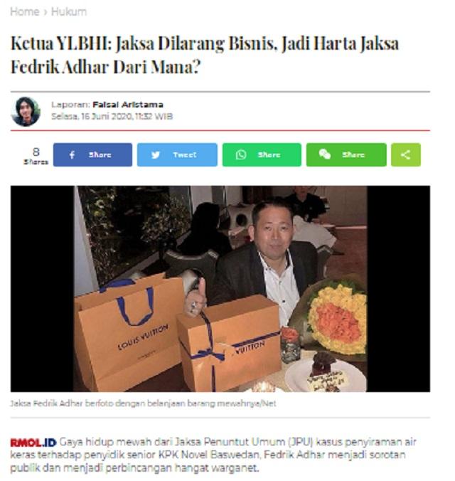 [Cek Fakta] Jaksa Kasus Novel Baswedan Fedrik Adhar Akhirnya Dipanggil KPK? Ini Faktanya